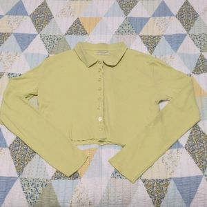 Urban Outfitters Cropped Button Up, L, Yellow